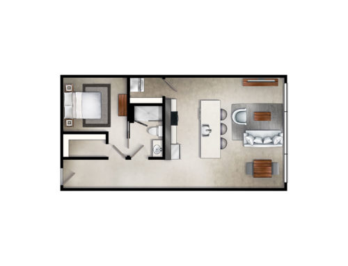 Industrial One Bedroom Floor Plan