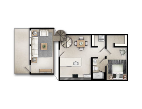 Two-Story One Bedroom Floor Plan