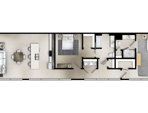 1st Avenue Corner Two Bedroom Floor Plan