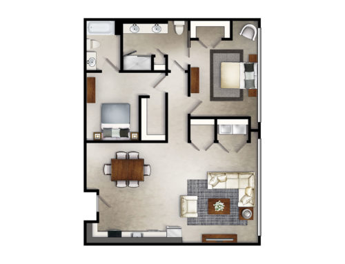 Icebox Two Bedroom Floor Plan