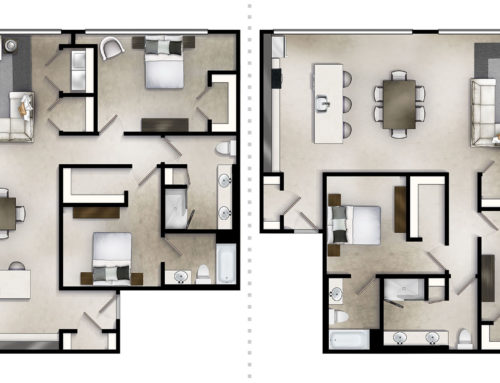 Corner Loft Two Bedroom Floor Plan