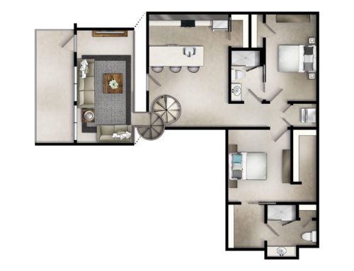 Two-Story Two Bedroom Floor Plan